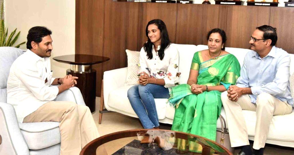 World Badminton champion P. V. Sindhu meets Andhra Pradesh Chief Minister Y.S. Jagan Mohan Reddy in Amaravathi, on Sep 13, 2019. - Y.