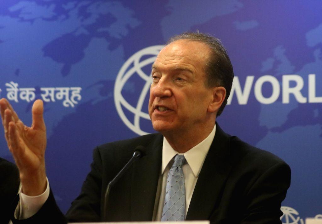 World Bank President David Malpass addresses a press conference in New Delhi on Oct 26, 2019.