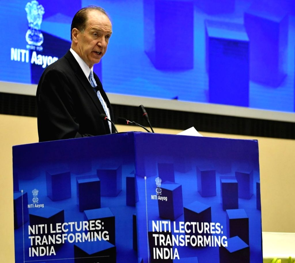 World Bank President David Malpass delivers a keynote address on the role of the financial sector in development during the 5th edition of NITI Lecture series, in New Delhi on Oct 26, 2019.