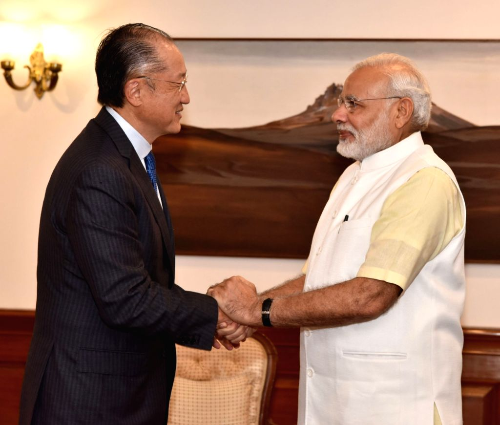 World Bank President Jim Yong Kim calls on Prime Minister Narendra Modi, in New Delhi on June 30, 2016. - Narendra Modi