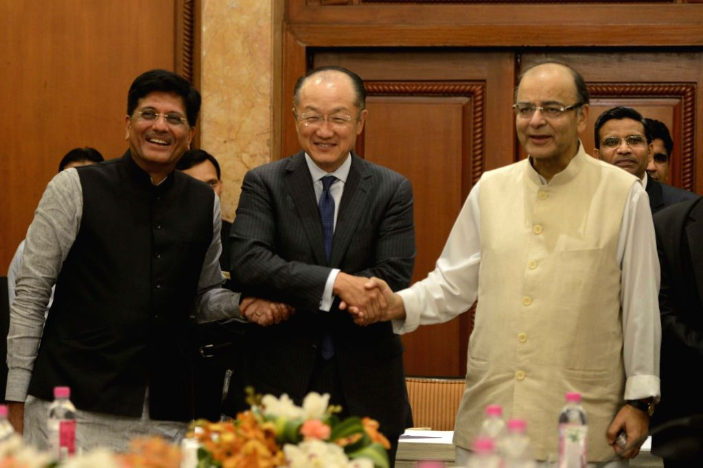 World Bank President Jim Yong Kim calls on Union Minister for Finance, Corporate Affairs, and Information and Broadcasting Arun Jaitley in New Delhi on June 30, 2016. Also seen Union Power ... - Piyush Goyal and Arun Jaitley