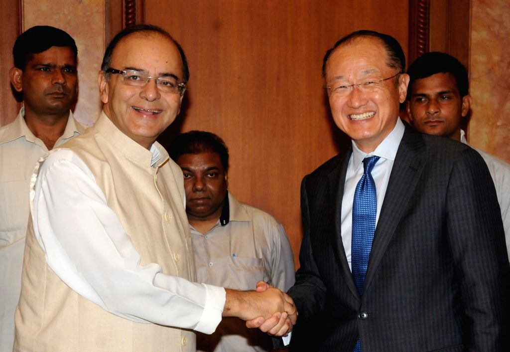 World Bank President Jim Yong Kim calls on Union Minister for Finance, Corporate Affairs, and Information and Broadcasting Arun Jaitley in New Delhi on June 30, 2016. - Arun Jaitley