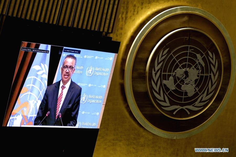 World Health Organization (WHO) Director-General Tedros Adhanom Ghebreyesus gives a speech via video link during the second and final day of the UN General Assembly's special session on COVID-19, on ...