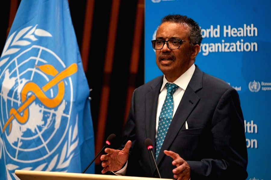 World Health Organization (WHO) Director-General Tedros Adhanom Ghebreyesus speaks at the 73rd World Health Assembly at the WHO headquarters in Geneva, Switzerland, May 18, 2020. (WHO/Handout via Xinhua/IANS)