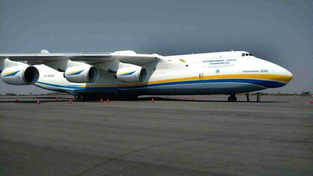 World's largest cargo aircraft AN-225 Myria parked at Rajiv Gandhi International Airport in Hyderabad, on May 13, 2016.