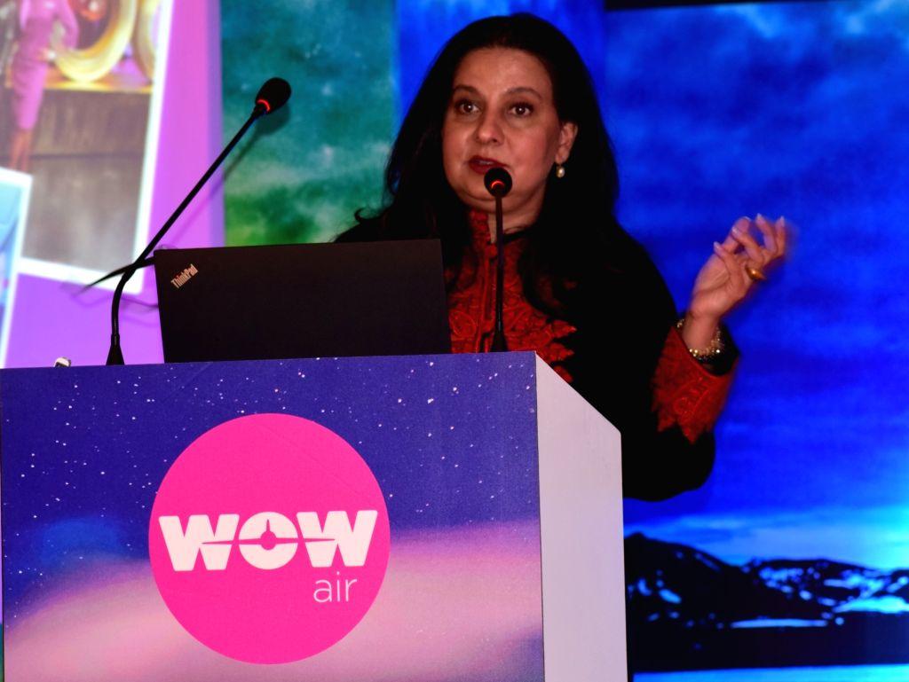 WOW air MD Kiran Jain addresses at the launch of flights from Delhi to Reykjavik, Iceland; in New Delhi on Dec 7, 2018. - Kiran Jain