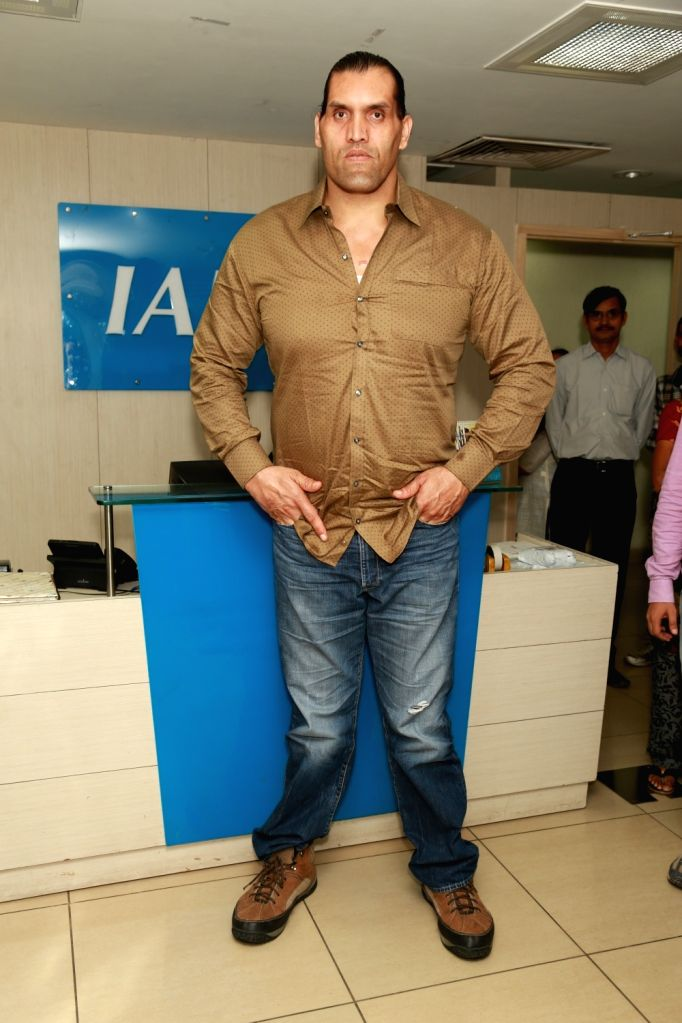 "Wrestler Dalip Singh Rana also known as ""The Great Khali"" at IANS office in New Delhi on Sept 10, 2016. - Dalip Singh Rana"