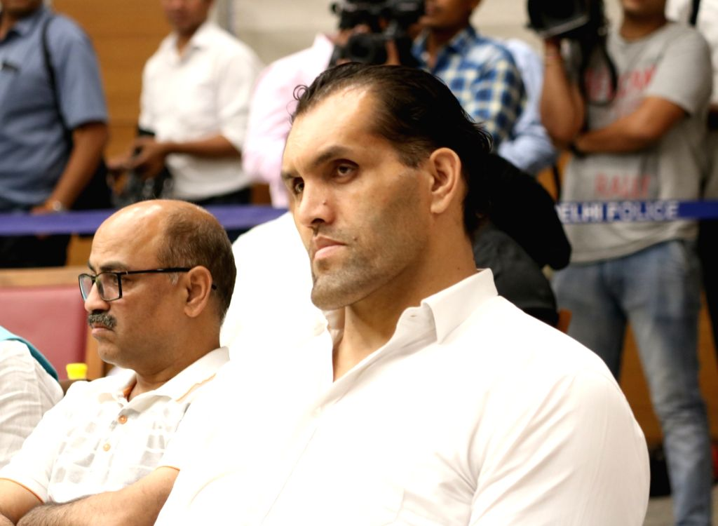 Wrestler Khali during a programme at BJP's headquarter, in New Delhi, on May 5, 2019.