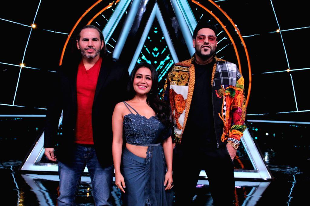 "Wrestler Matt Hardy with singer Neha Kakkar and rapper Badshah on the sets of ""Indian Idol 10"" on Dec 5, 2018."