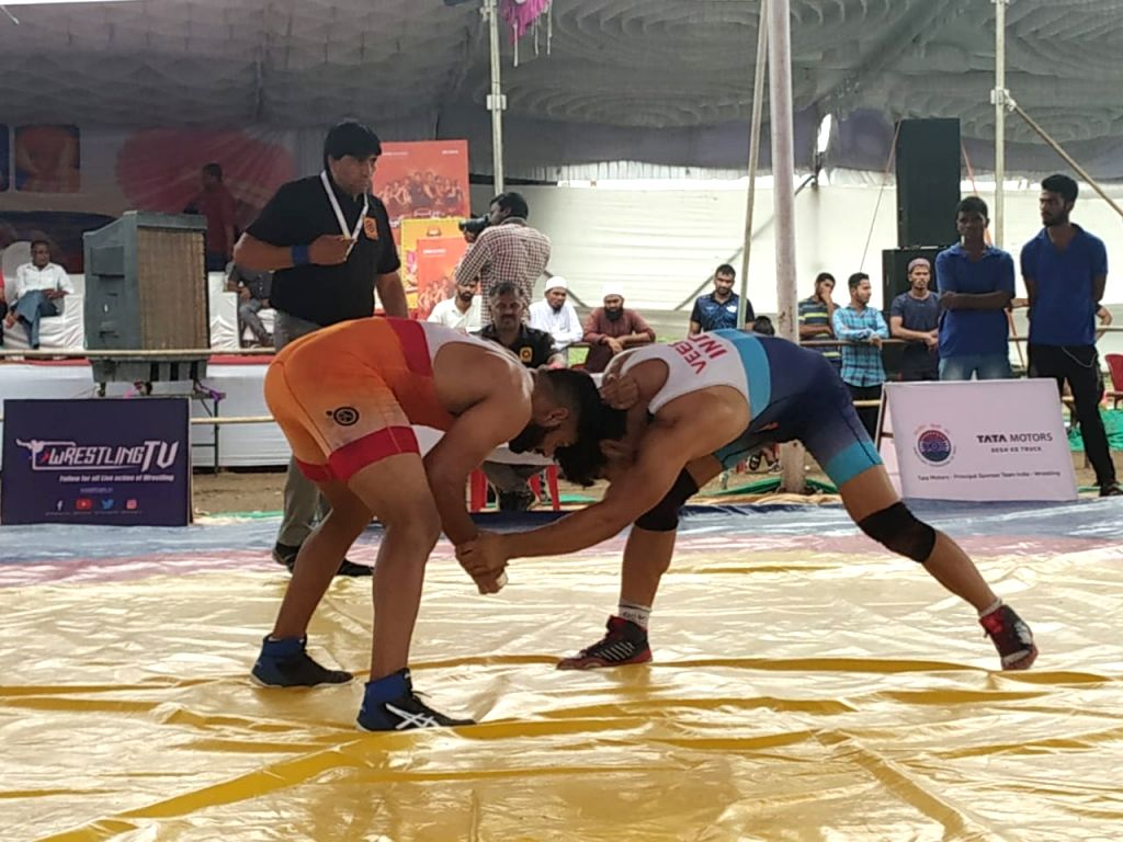 Wrestler's in action on the first day of 2nd Tata Motors U-23 National Wrestling Championship in Shirdi, Maharashtra on Sep 27, 2019.