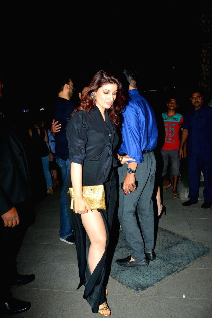 Writer-producer Twinkle Khanna during her husband and actor Akshay Kumar's birthday celebration in Mumbai on Sept 9, 2018. - Akshay Kumar and Khanna