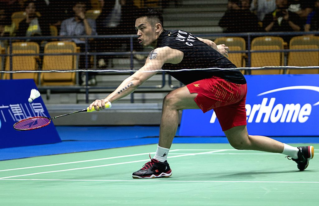 WUHAN, April 24, 2019 - Lin Dan of China competes during a mens' singles match against Lu Chai Hung of Chinese Taipei at the BWF Badminton Asia Championships 2019 in Wuhan, capital of Hubei province, ...