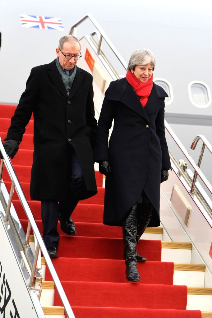 WUHAN, Jan. 31, 2018 - British Prime Minister Theresa May arrives in Wuhan, central China's Hubei Province, Jan. 31, 2018. Theresa May is scheduled to visit China from Jan. 31 to Feb. 2. - Theresa May