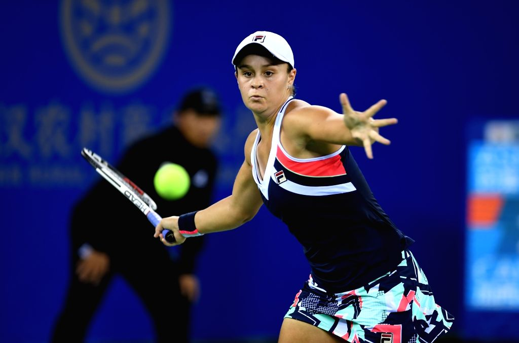 WUHAN, Oct. 1, 2017 - Ashleigh Barty of Australia returns the ball during the singles final match against Caroline Garcia of France at 2017 WTA Wuhan Open in Wuhan, capital of central China's Hubei ...