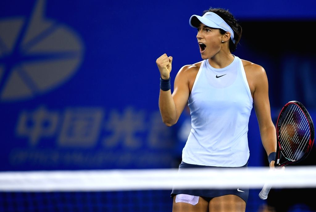 WUHAN, Oct. 1, 2017 - Caroline Garcia of France celebrates during the singles final match against Ashleigh Barty of Australia at 2017 WTA Wuhan Open in Wuhan, capital of central China's Hubei ...