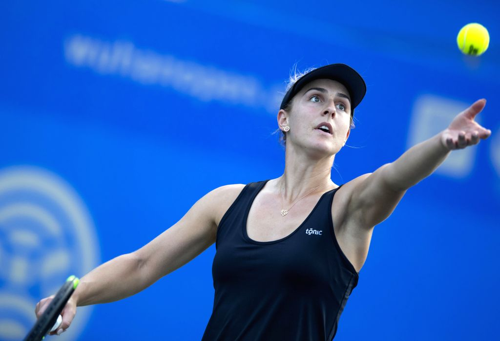 WUHAN, Sept. 20, 2019 - Gabriela Dabrowski of Canada serves during the women's singles qualification round against Zhu Lin of China at the 2019 WTA Wuhan Open tennis tournament in Wuhan, central ...