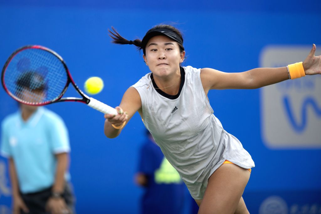 WUHAN, Sept. 20, 2019 - Zhu Lin of China returns a shot during the women's singles qualification round against Gabriela Dabrowski of Canada at the 2019 WTA Wuhan Open tennis tournament in Wuhan, ...