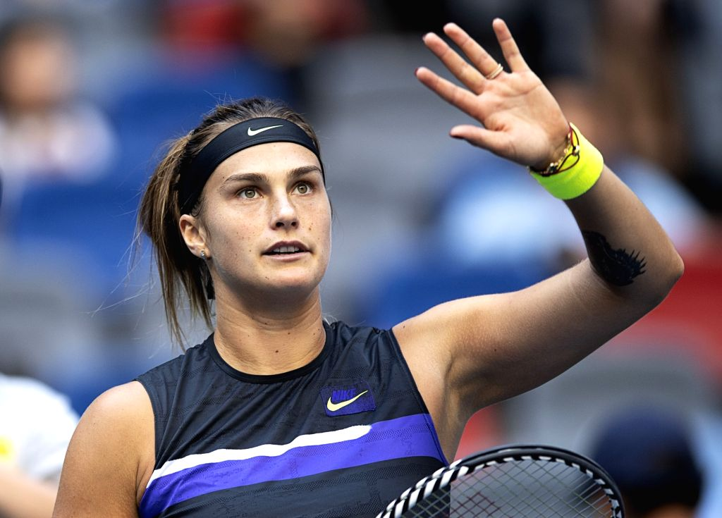 WUHAN, Sept. 22, 2019 - Aryna Sabalenka celebrates after the women's singles first round match between Aryna Sabalenka of Belarus and  Aliaksandra Sasnovich of Belarus at the 2019 WTA Wuhan Open ...