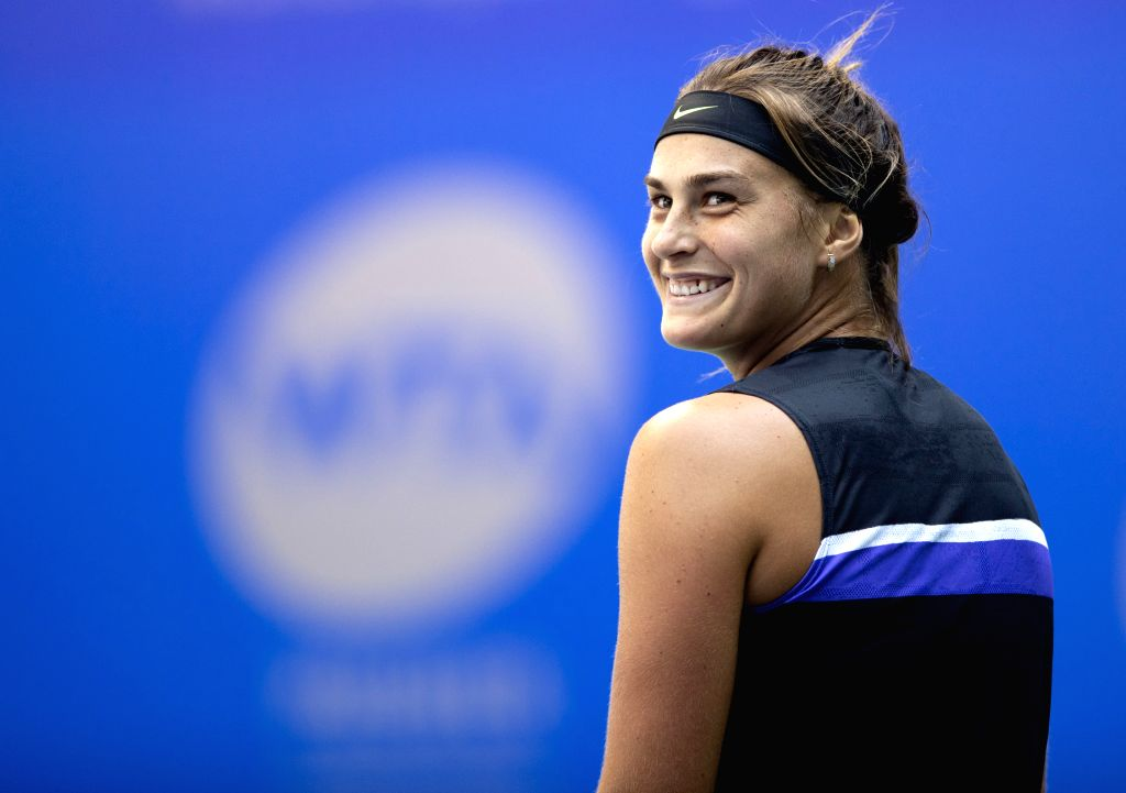 WUHAN, Sept. 22, 2019 - Aryna Sabalenka reacts during the women's singles first round match between Aryna Sabalenka of Belarus and  Aliaksandra Sasnovich of Belarus at the 2019 WTA Wuhan Open tennis ...
