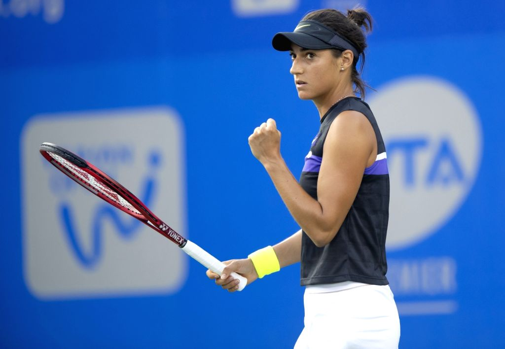 WUHAN, Sept. 22, 2019 - Caroline Garcia reacts during the women's singles first round match between Caroline Garcia of France and Daria Kasatkina of Russia at the 2019 WTA Wuhan Open tennis ...