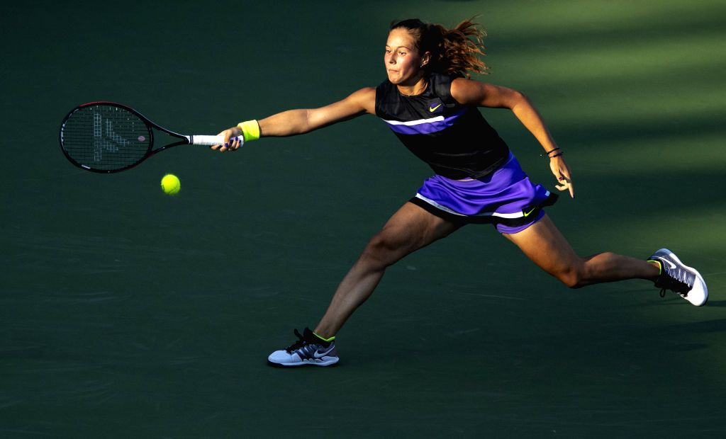 WUHAN, Sept. 22, 2019 - Daria Kasatkina returns a shot during the women's singles first round match between Caroline Garcia of France and Daria Kasatkina of Russia at the 2019 WTA Wuhan Open tennis ...