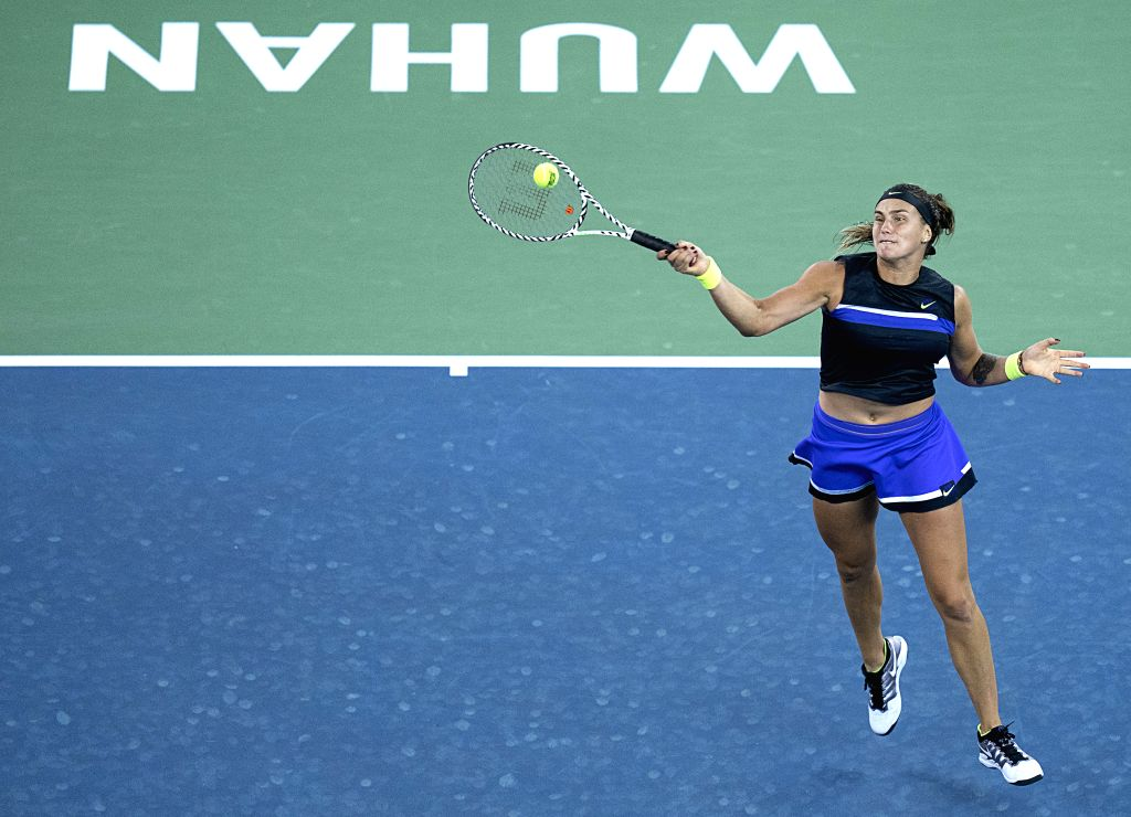 WUHAN, Sept. 27,2019 - Aryna Sabalenka of Belarus competes during the women's singles semifinal between Ashleigh Barty of Australia and Aryna Sabalenka of Belarus at the 2019 WTA Wuhan Open tennis ...