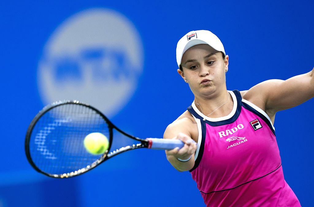 WUHAN, Sept. 27,2019 - Ashleigh Barty of Australia competes during the women's singles semifinal between Ashleigh Barty of Australia and Aryna Sabalenka of Belarus at the 2019 WTA Wuhan Open tennis ...