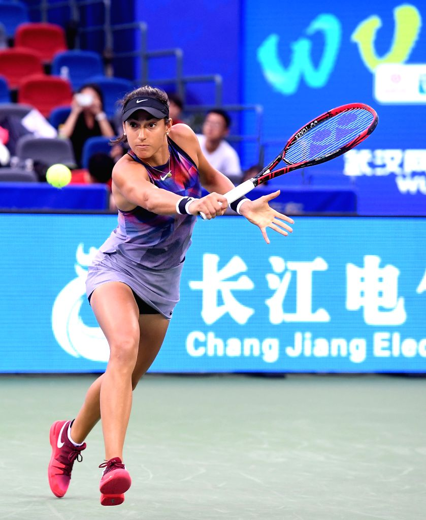 WUHAN,  Sept. 28,  2017 - Caroline Garcia of France returns the ball during the singles quarterfinal match against Ekaterina Makarova of Russia at 2017 WTA Wuhan Open in Wuhan, capital of central ...