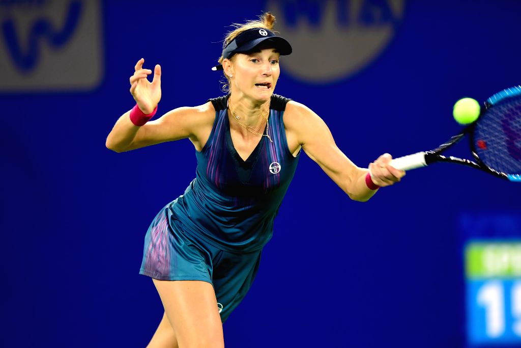 WUHAN,  Sept. 28,  2017 - Ekaterina Makarova of Russia returns the ball during the singles quarterfinal match against Caroline Garcia of France at 2017 WTA Wuhan Open in Wuhan, capital of central ...
