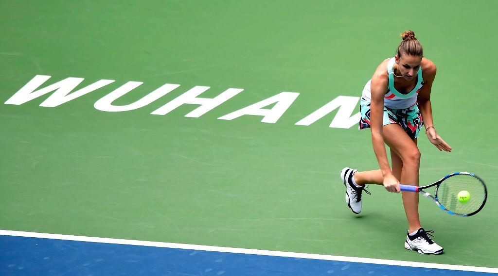 WUHAN, Sept. 28, 2017 - Karolina Pliskova of Czech Republic returns the ball during the singles quarterfinal match against Ashleigh Barty of Australia at 2017 WTA Wuhan Open in Wuhan, capital of ...