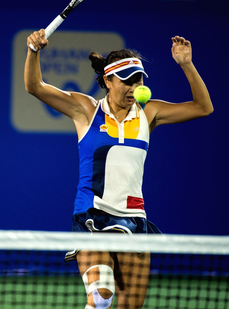 WUHAN, Sept. 28, 2017 - Peng Shuai of China reacts during the doubles quarterfinal match against Alicja Rosolska of Poland and Abigail Spears of the United States at 2017 WTA Wuhan Open in Wuhan, ... - Sania Mirza