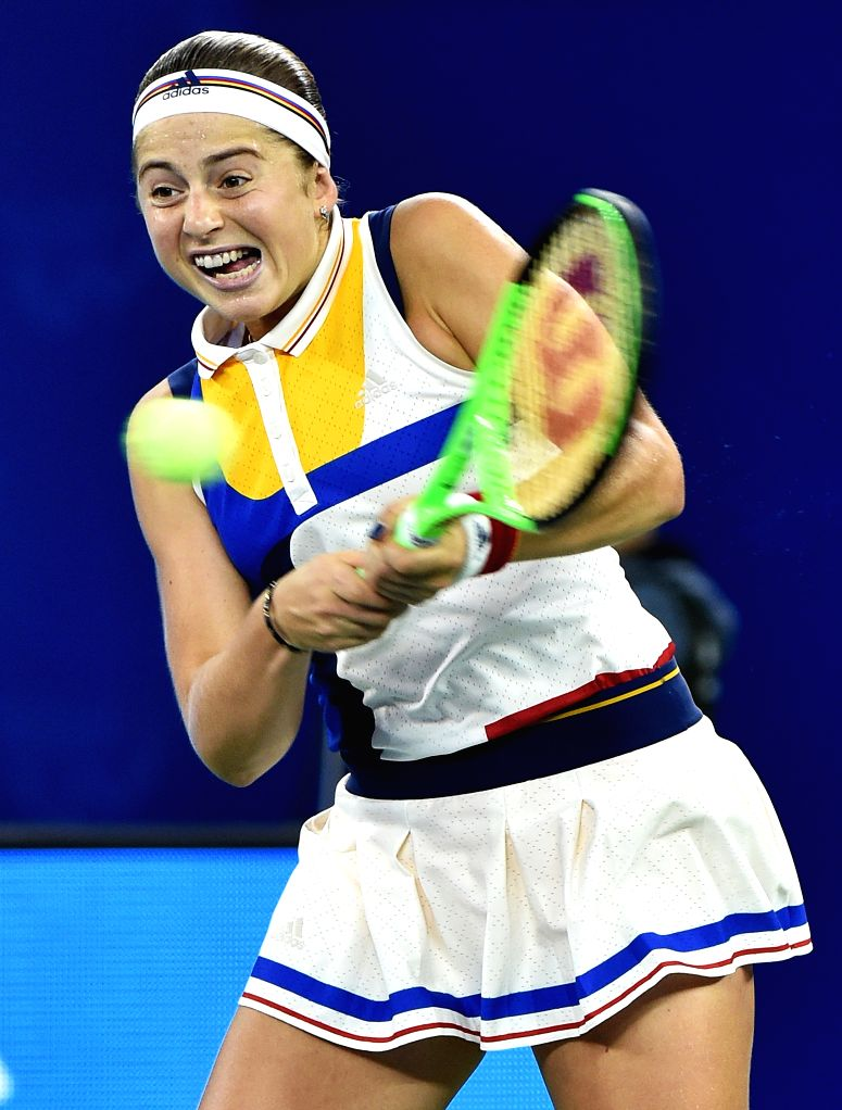 WUHAN,  Sept. 29,  2017 - Jelena Ostapenko of Latvia returns the ball during the singles semifinal match against Ashleigh Barty of Australia at 2017 WTA Wuhan Open in Wuhan, capital of central ...