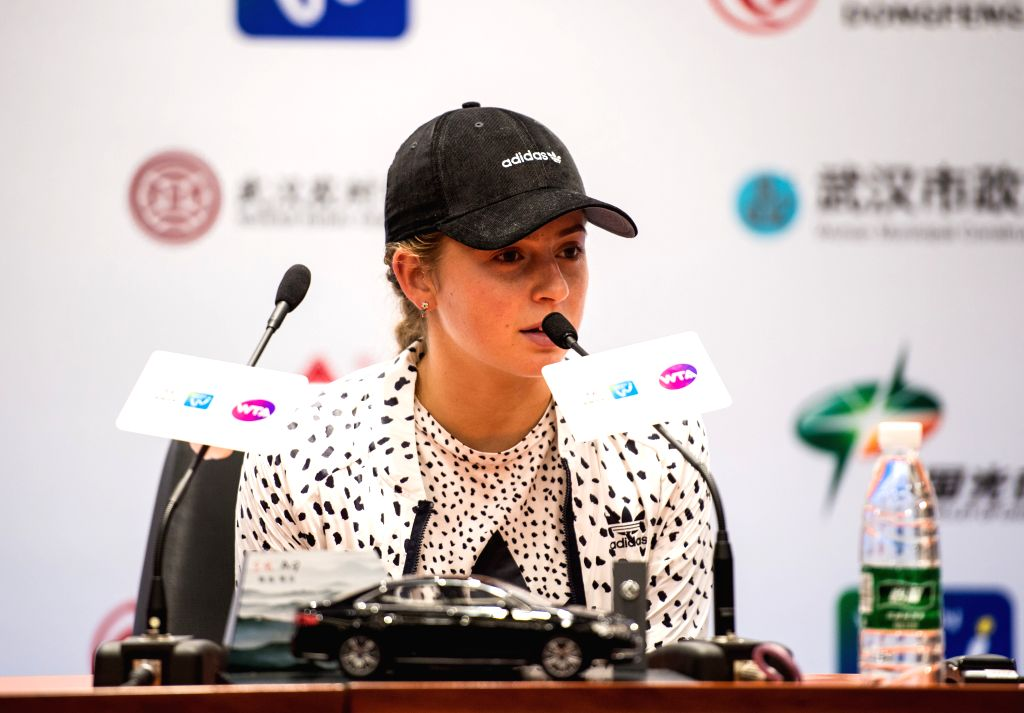 WUHAN, Sept. 29,  2017 - Jelena Ostapenko of Latvia looks on during the press conference after her singles semifinal match against Ashleigh Barty of Australia at 2017 WTA Wuhan Open in Wuhan, capital ...