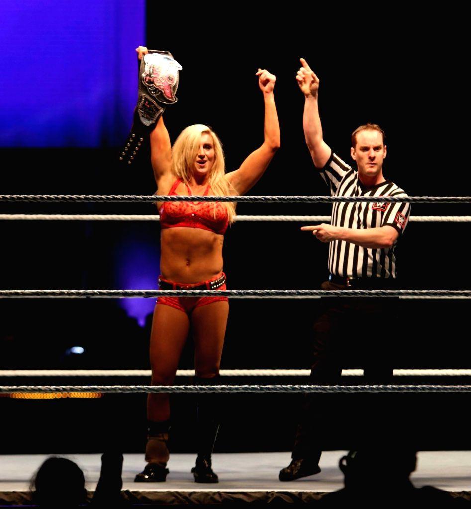 WWE Divas Champion Charlotte during a WWE event at the Indira Gandhi Stadium in New Delhi, on Jan 15, 2016. - Indira Gandhi Stadium