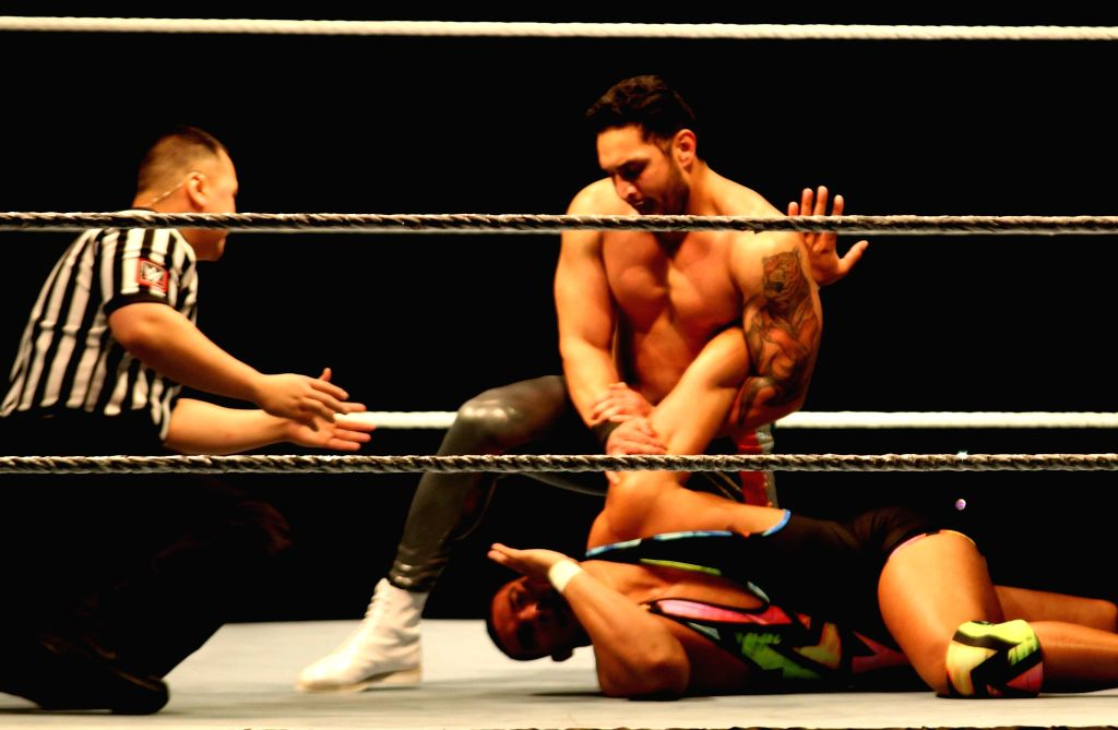 WWE NXT superstar Lovepreet Sangha and Jason Jordan in action during a WWE event at the Indira Gandhi Stadium in New Delhi, on Jan 15, 2016. - Indira Gandhi Stadium