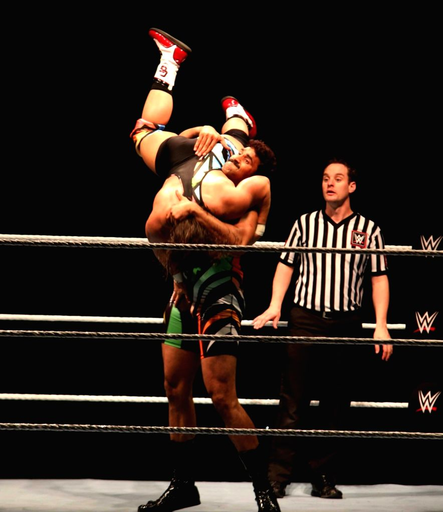 WWE NXT Superstar Satender Ved Pal and Chad Gable in action during a WWE event at the Indira Gandhi Stadium in New Delhi, on Jan 15, 2016. - Indira Gandhi Stadium