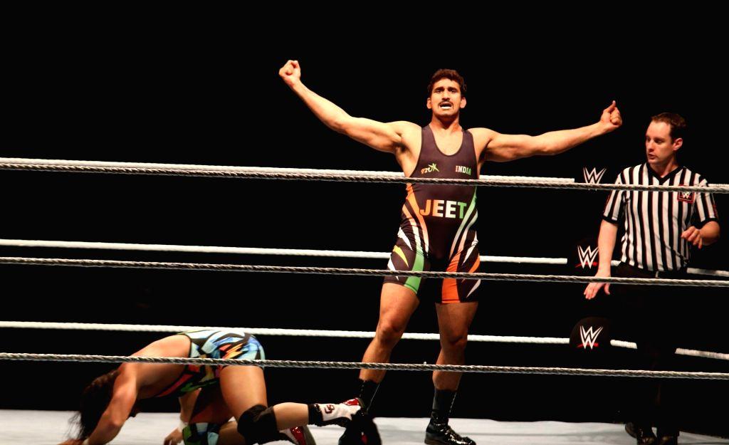 WWE NXT superstar Satender Ved Pal during a WWE event at the Indira Gandhi Stadium in New Delhi, on Jan 15, 2016. - Indira Gandhi Stadium