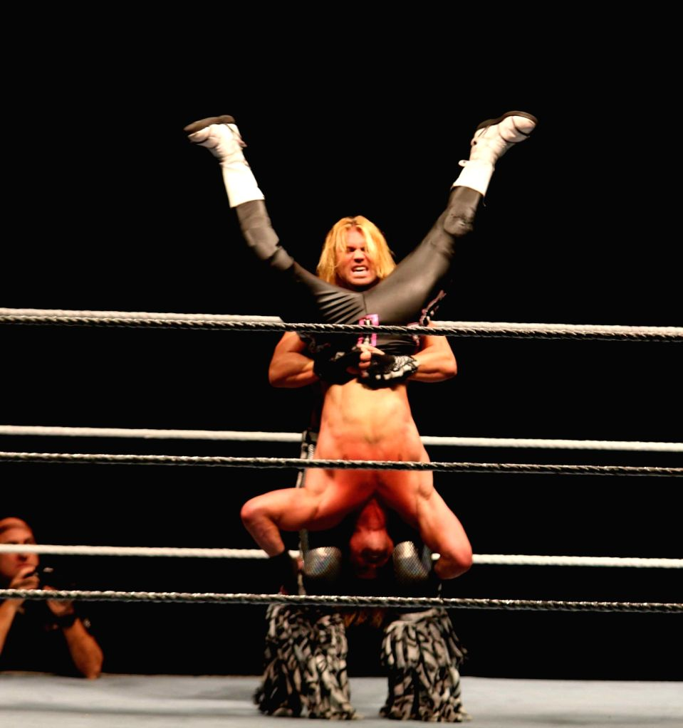 WWE wrestlers Dolph Ziggler and Tyler Breeze in action during a WWE event at the Indira Gandhi Stadium in New Delhi, on Jan 15, 2016. - Indira Gandhi Stadium