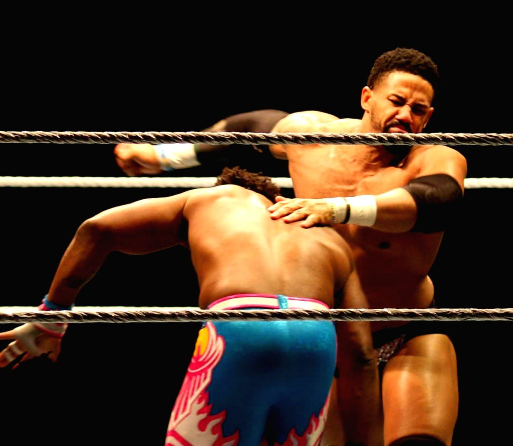WWE wrestlers in action during a Triple-threat Tag Team match between New Day vs the Usos vs the Primetime Players at the Indira Gandhi Stadium in New Delhi, on Jan 15, 2016. - Indira Gandhi Stadium