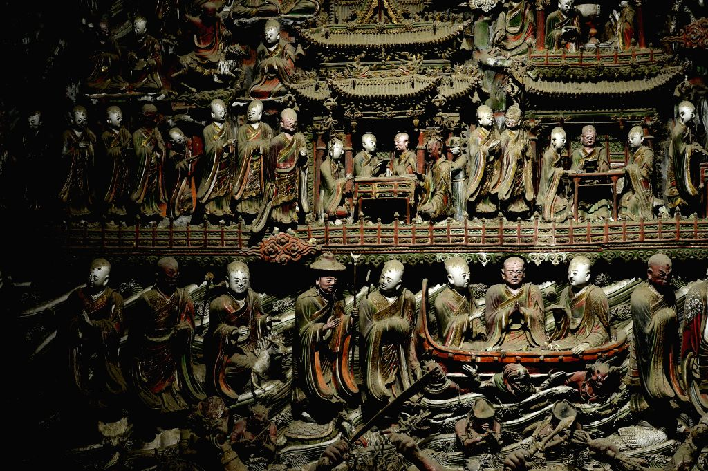 XI'Photo taken on Dec. 30, 2014 shows the clay statues at Shuilu'an Temple in Lantian County of Xi'an, capital of northwest China's Shaanxi Province. Over 3,700 statues .