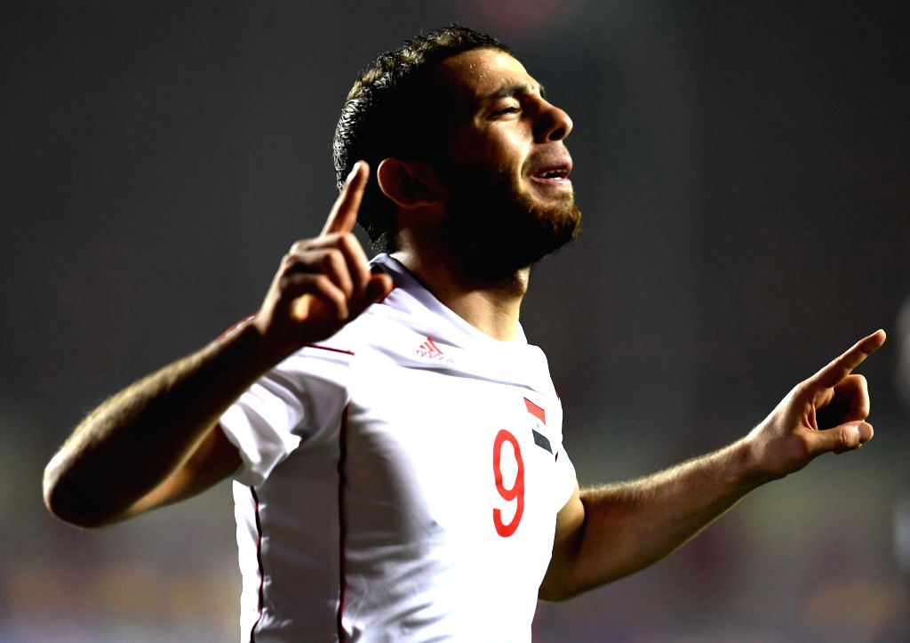 XI'Syria's Mahmoud Almawas celebrates after scoring in a match between China and Syria of 2018 FIFA World Cup Russia Qualifiers in Xi'an, capital of northwest China's ...