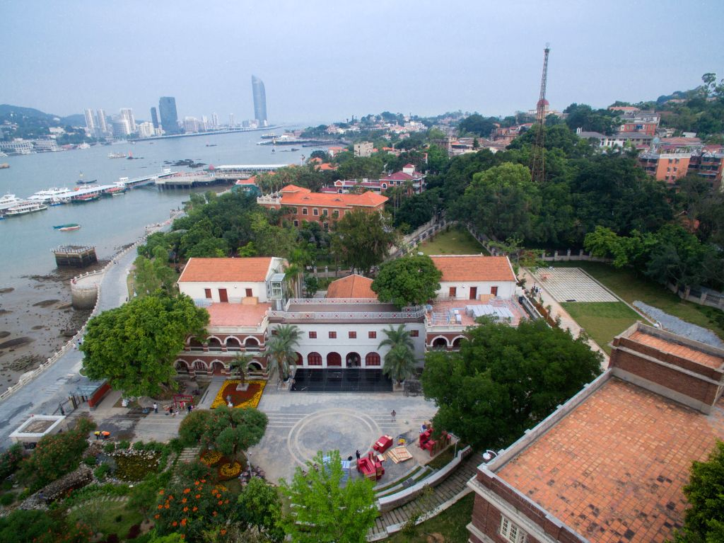 XIAMEN, May 12, 2017 - Aerial photo taken on May 10, 2017 shows the new branch of the Palace Museum in Xiamen, southeast China's Fujian Province. The Palace Museum will open a new museum of foreign ...