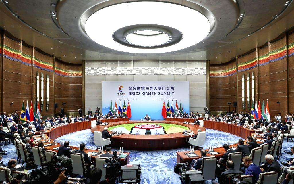 XIAMEN, Sept. 4, 2017 - Chinese President Xi Jinping presides over the ninth BRICS summit in Xiamen, southeast China's Fujian Province, Sept. 4, 2017. South African President Jacob Zuma, Brazilian ... - Narendra Modi