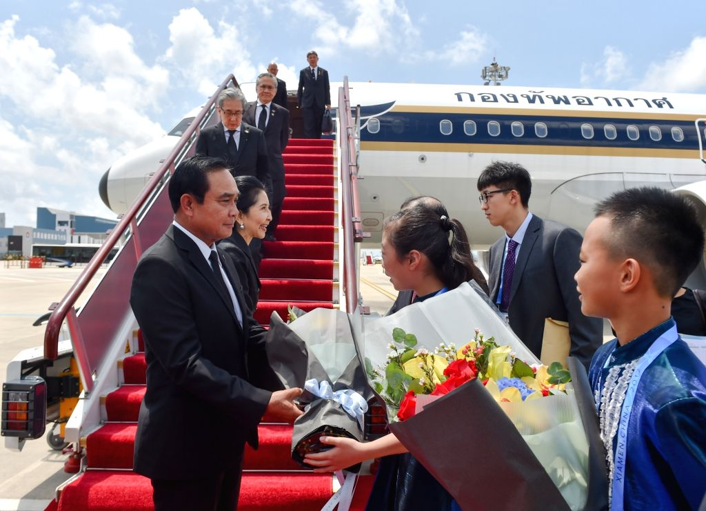 XIAMEN, Sept. 4, 2017 - Thai Prime Minister Prayut Chan-o-cha arrives for the Dialogue of Emerging Market and Developing Countries in Xiamen, southeast China's Fujian Province, Sept. 4, 2017. - Prayut Chan