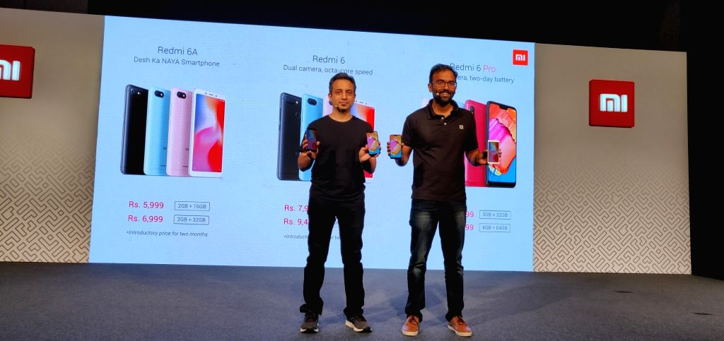 Xiaomi India Chief Marketing Officer Anuj Sharma and Head of Online Sales Raghu Reddy at the launch of Xiaomi Redmi 6 series smartphones - Xiaomi Redmi 6, Redmi 6A and Redmi 6 Pro ... - Sales Raghu Reddy