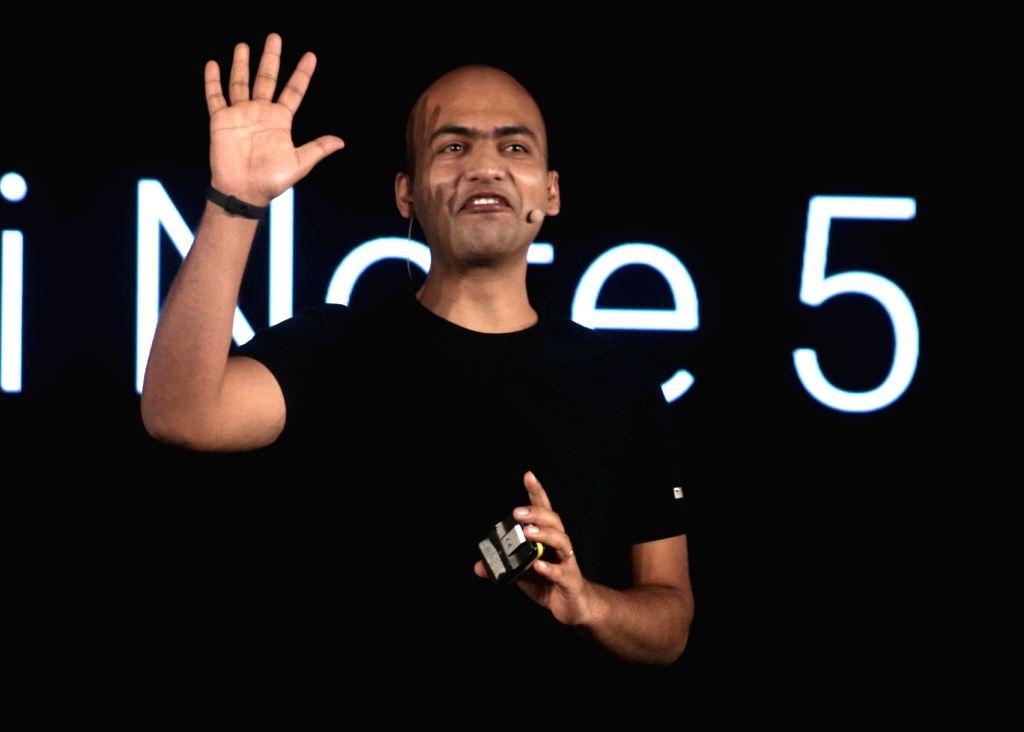 Xiaomi India Managing Director and Global Vice President Manu Kumar Jain addresses during the launch of Xiaomi Redmi Note 5 and Note 5 Pro smartphones in New Delhi on Feb 14, 2018. - Manu Kumar Jain