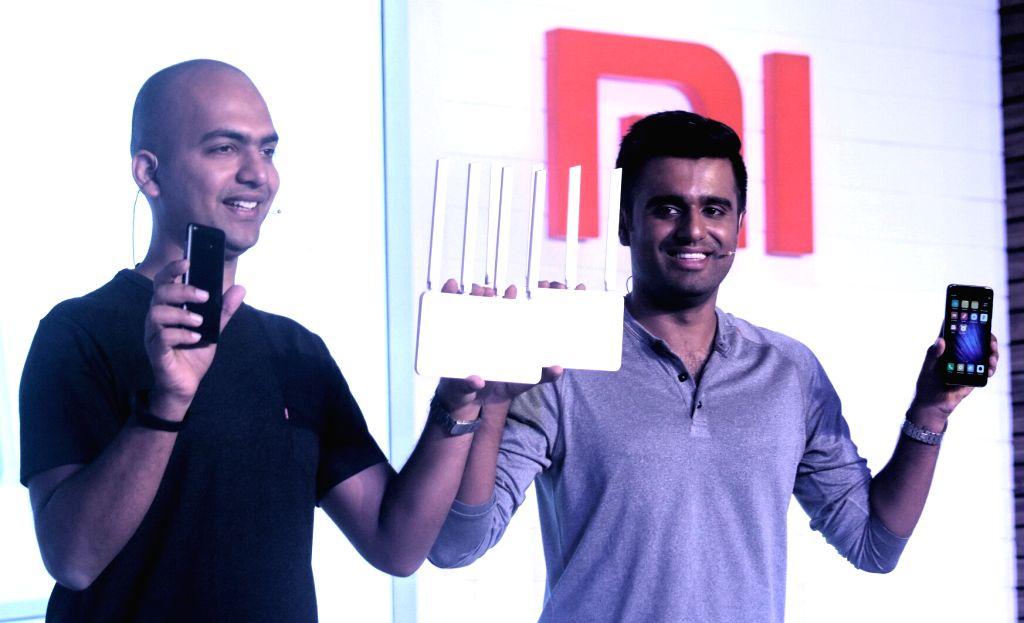 Xiaomi India Managing Director Manu Jain and Xiaomi India Product  Jai Mani at the launch of  MI  note 4 and MI  router 3C in New Delhi on May 16, 2017. - Manu Jain