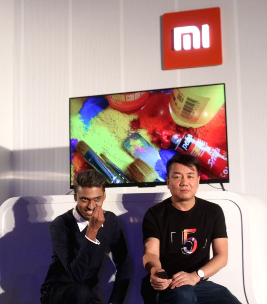 """Xiaomi India Product Manager Sudeep Sahu and Xiaomi Global Head Mi TV Wang Chuan during the launch of smart LED TV called """"Mi TV 4"""" in New Delhi on Feb 14, 2018. Xiaomi also ..."""