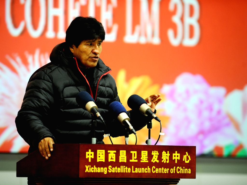 Bolivian President Juan Evo Morales Ayma delivers a speech after the successful launch of a Bolivian communications satellite at the Xichang Satellite Launch ..