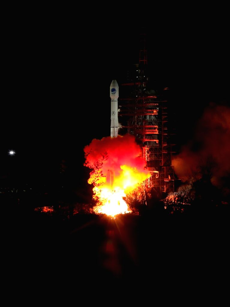 XICHANG, March 30, 2018 - China sends twin satellites into space with a single carrier rocket, adding two more members for its domestic BeiDou Navigation Satellite System (BDS), in Xichang of ...